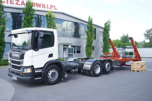 SCANIA P410, E6, 6x2, 60,000 KM, 6m frame, PTO, low cabin, NEW GATE 18T portaalarmsysteem truck